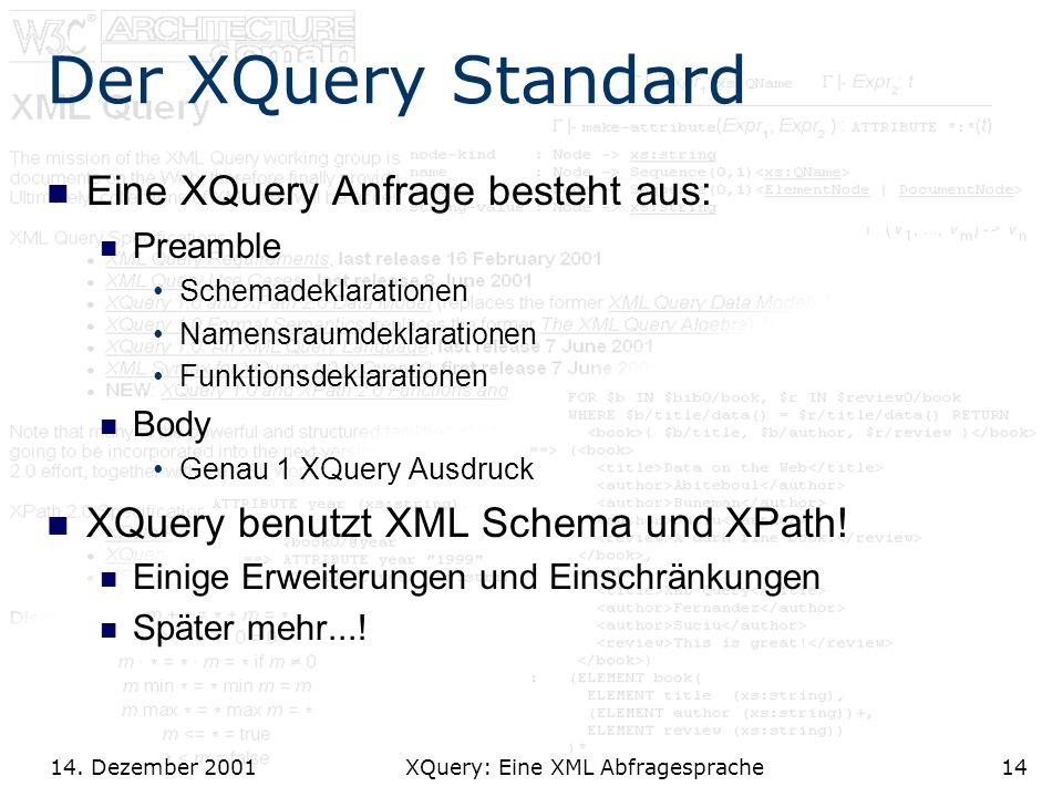 14. Dezember 2001 XQuery: Eine XML Abfragesprache14 Der XQuery Standard Eine XQuery Anfrage besteht aus: Preamble Schemadeklarationen Namensraumdeklar