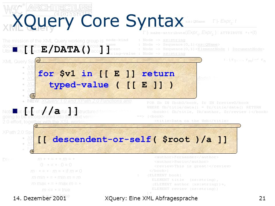 14. Dezember 2001 XQuery: Eine XML Abfragesprache21 XQuery Core Syntax [[ E/DATA() ]] [[ //a ]] for $v1 in [[ E ]] return typed-value ( [[ E ]] ) [[ d