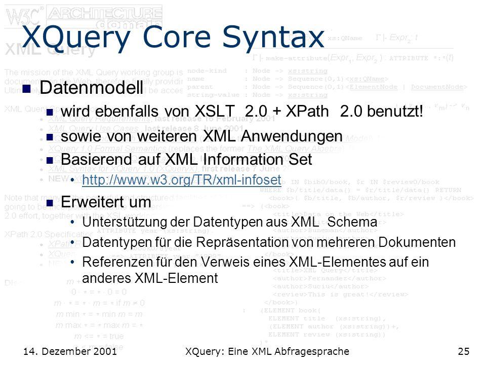 14. Dezember 2001 XQuery: Eine XML Abfragesprache25 XQuery Core Syntax Datenmodell wird ebenfalls von XSLT 2.0 + XPath 2.0 benutzt! sowie von weiteren