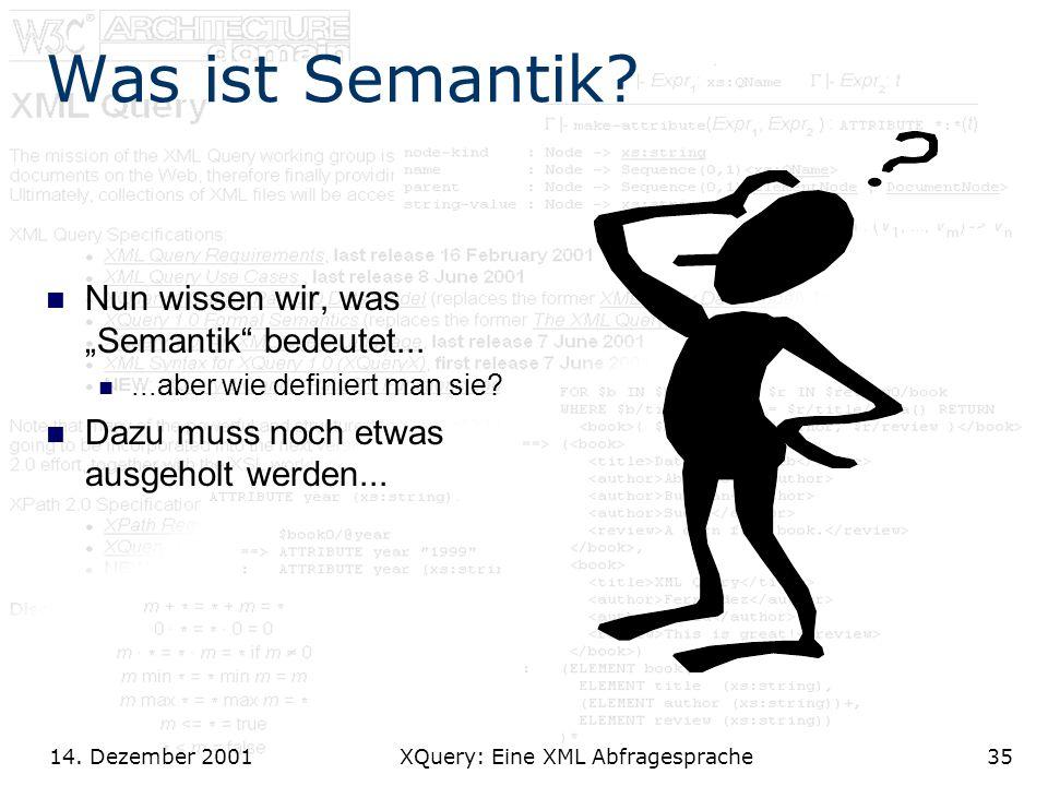 14. Dezember 2001 XQuery: Eine XML Abfragesprache35 Was ist Semantik.