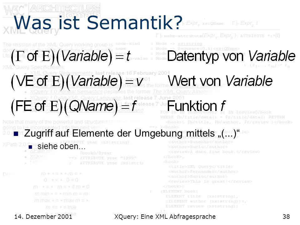 14. Dezember 2001 XQuery: Eine XML Abfragesprache38 Was ist Semantik.
