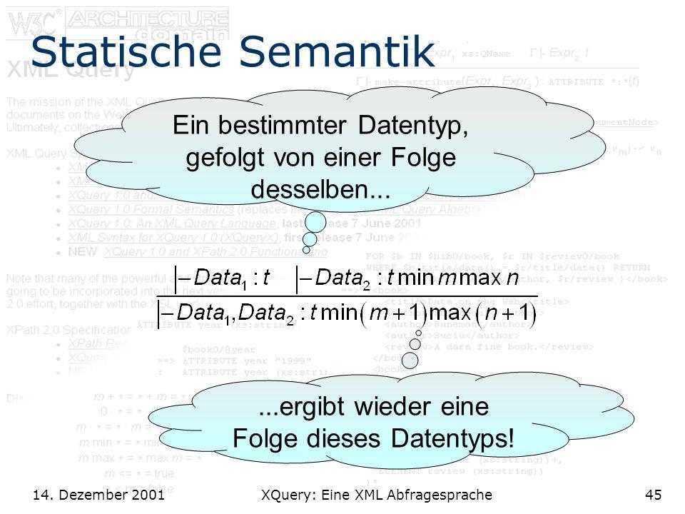 14. Dezember 2001 XQuery: Eine XML Abfragesprache45 Statische Semantik Ein bestimmter Datentyp, gefolgt von einer Folge desselben......ergibt wieder e