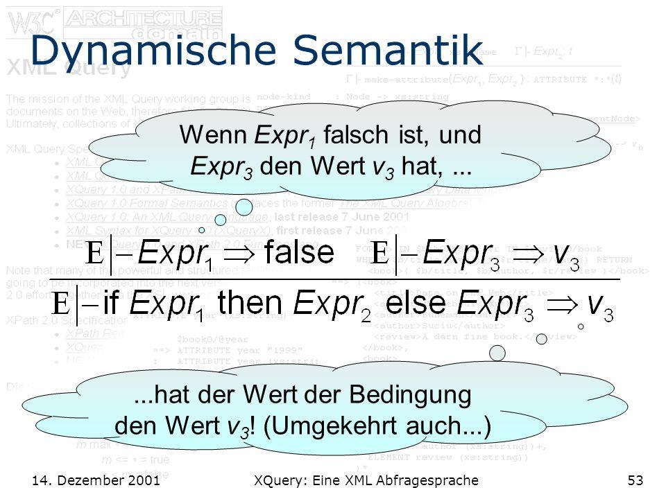 14. Dezember 2001 XQuery: Eine XML Abfragesprache53 Dynamische Semantik Wenn Expr 1 falsch ist, und Expr 3 den Wert v 3 hat,......hat der Wert der Bed