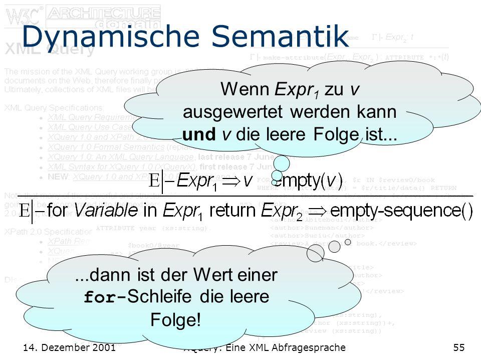 14. Dezember 2001 XQuery: Eine XML Abfragesprache55 Dynamische Semantik Wenn Expr 1 zu v ausgewertet werden kann und v die leere Folge ist......dann i