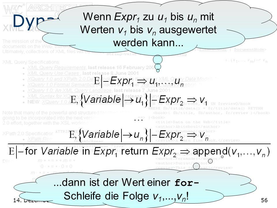 14. Dezember 2001 XQuery: Eine XML Abfragesprache56 Dynamische Semantik Wenn Expr 1 zu u 1 bis u n mit Werten v 1 bis v n ausgewertet werden kann.....