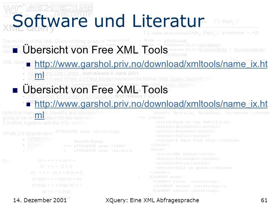 14. Dezember 2001 XQuery: Eine XML Abfragesprache61 Software und Literatur Übersicht von Free XML Tools http://www.garshol.priv.no/download/xmltools/n
