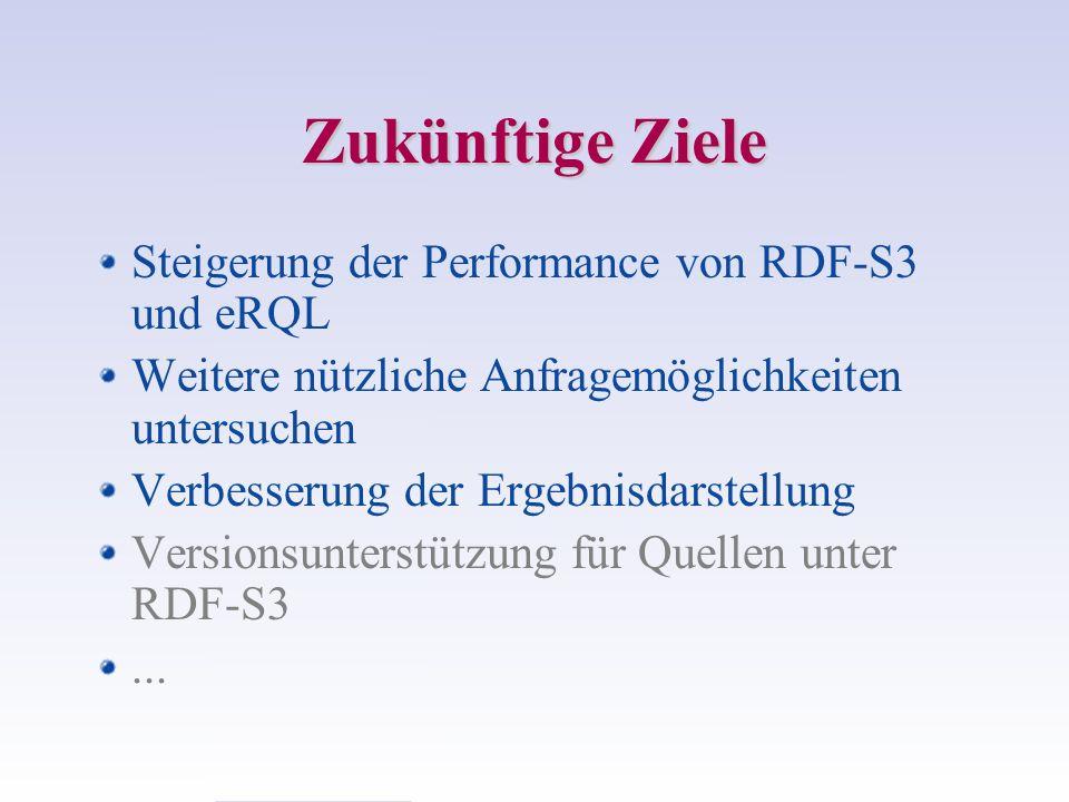 Zukünftige Ziele Steigerung der Performance von RDF-S3 und eRQL Weitere nützliche Anfragemöglichkeiten untersuchen Verbesserung der Ergebnisdarstellung Versionsunterstützung für Quellen unter RDF-S3...