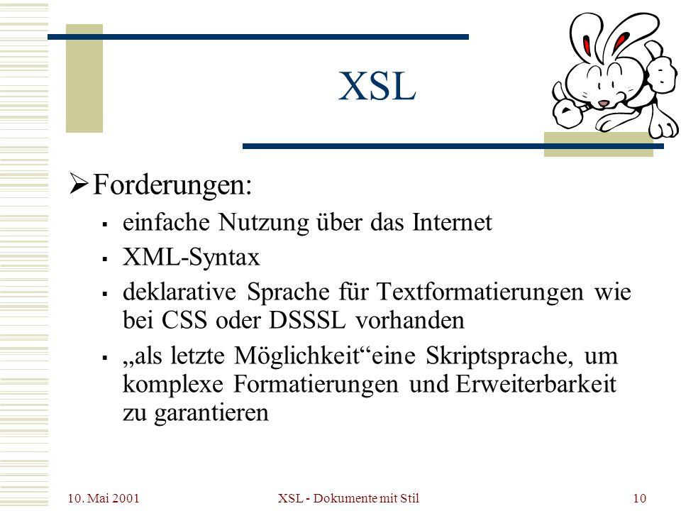 10. Mai 2001 XSL - Dokumente mit Stil10 XSL Forderungen: einfache Nutzung über das Internet XML-Syntax deklarative Sprache für Textformatierungen wie