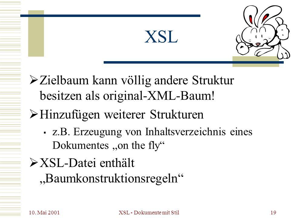 10. Mai 2001 XSL - Dokumente mit Stil19 XSL Zielbaum kann völlig andere Struktur besitzen als original-XML-Baum! Hinzufügen weiterer Strukturen z.B. E