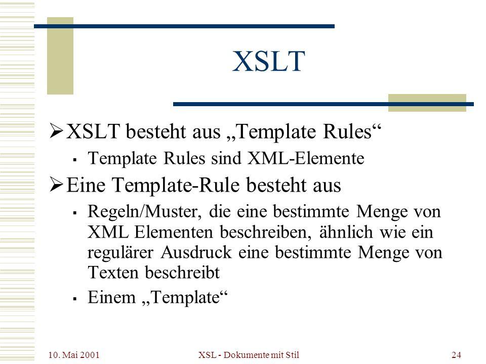 10. Mai 2001 XSL - Dokumente mit Stil24 XSLT XSLT besteht aus Template Rules Template Rules sind XML-Elemente Eine Template-Rule besteht aus Regeln/Mu