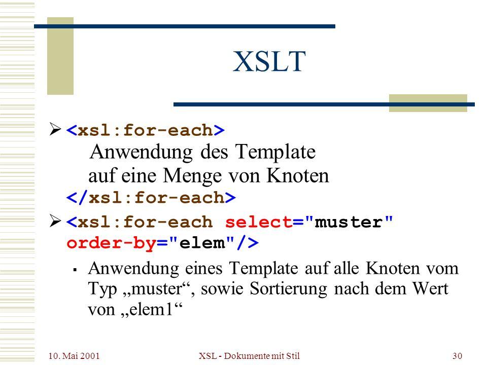 10. Mai 2001 XSL - Dokumente mit Stil30 XSLT Anwendung des Template auf eine Menge von Knoten Anwendung eines Template auf alle Knoten vom Typ muster,