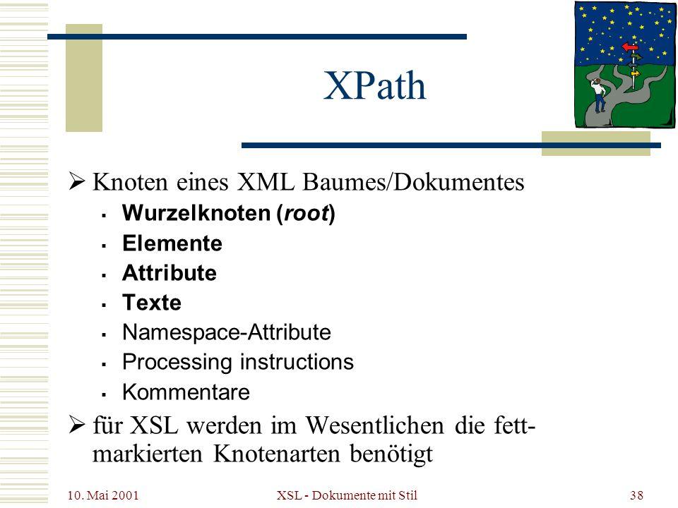10. Mai 2001 XSL - Dokumente mit Stil38 XPath Knoten eines XML Baumes/Dokumentes Wurzelknoten (root) Elemente Attribute Texte Namespace-Attribute Proc