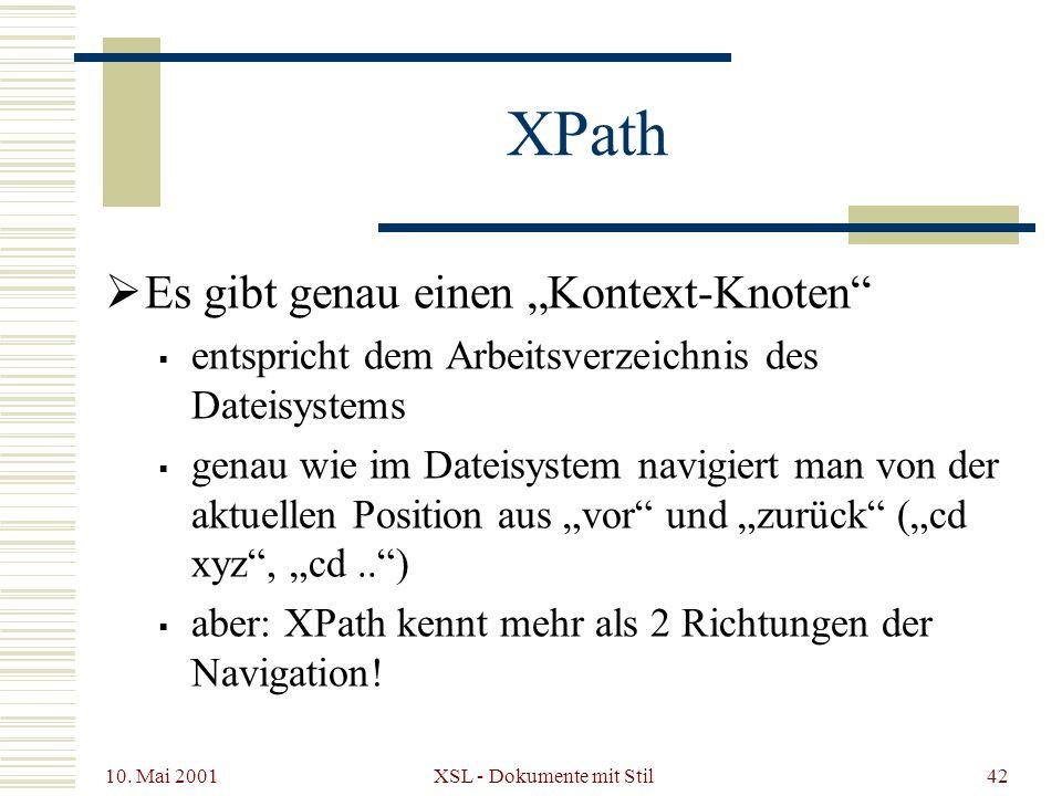 10. Mai 2001 XSL - Dokumente mit Stil42 XPath Es gibt genau einen Kontext-Knoten entspricht dem Arbeitsverzeichnis des Dateisystems genau wie im Datei