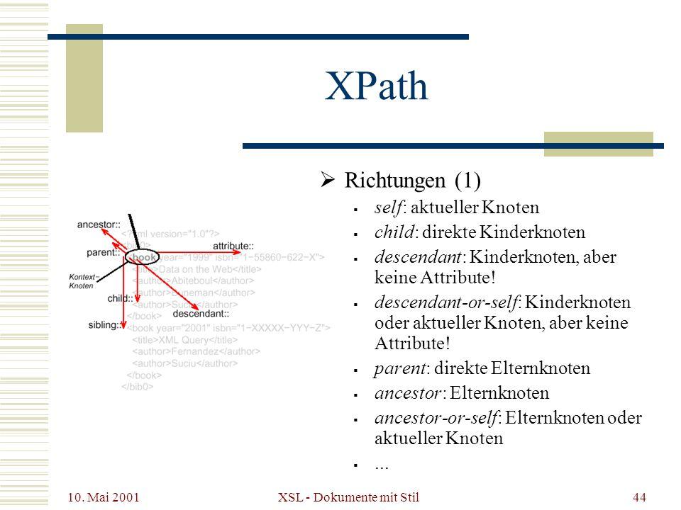 10. Mai 2001 XSL - Dokumente mit Stil44 XPath Richtungen (1) self: aktueller Knoten child: direkte Kinderknoten descendant: Kinderknoten, aber keine A