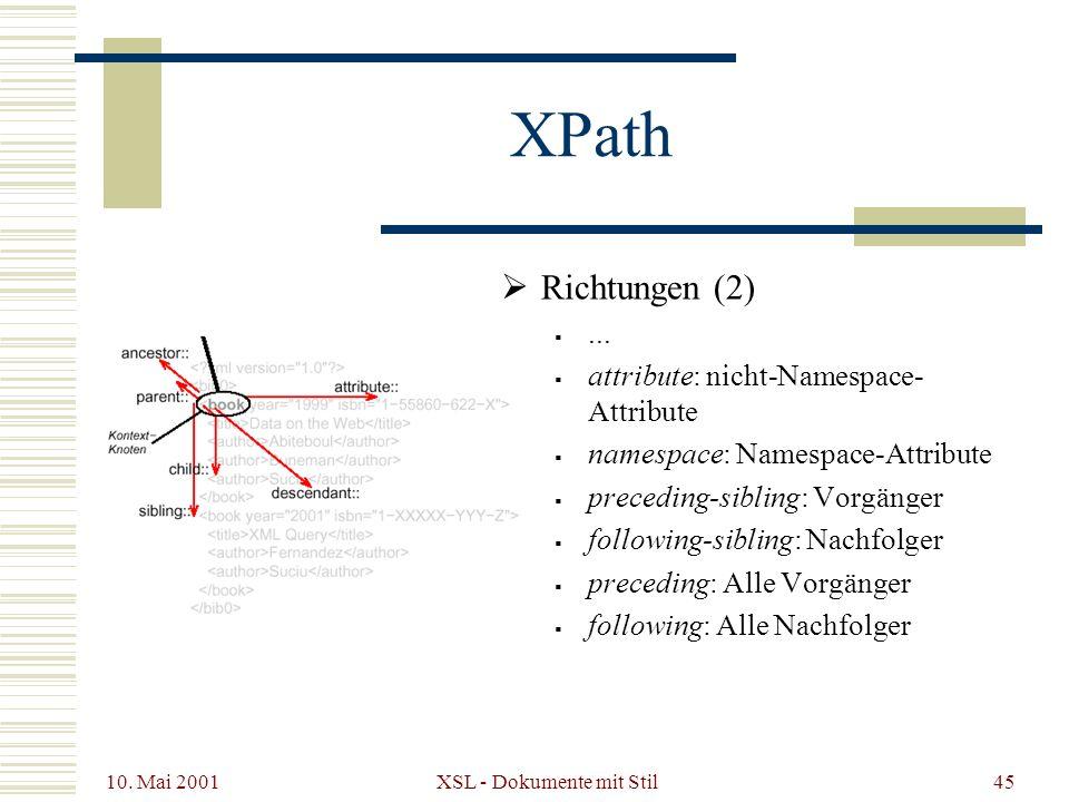 10. Mai 2001 XSL - Dokumente mit Stil45 XPath Richtungen (2)... attribute: nicht-Namespace- Attribute namespace: Namespace-Attribute preceding-sibling