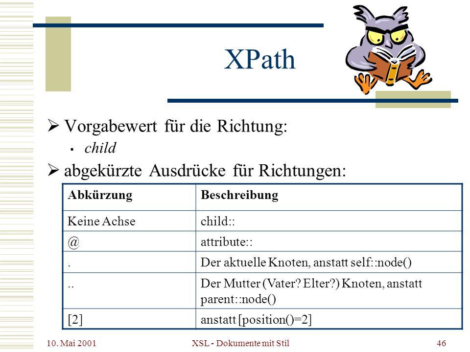 10. Mai 2001 XSL - Dokumente mit Stil46 Vorgabewert für die Richtung: child abgekürzte Ausdrücke für Richtungen: XPath AbkürzungBeschreibung Keine Ach