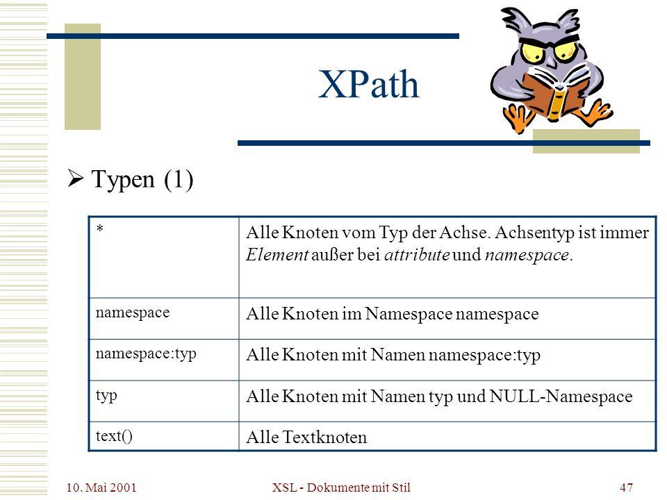 10. Mai 2001 XSL - Dokumente mit Stil47 Typen (1) XPath * Alle Knoten vom Typ der Achse. Achsentyp ist immer Element außer bei attribute und namespace
