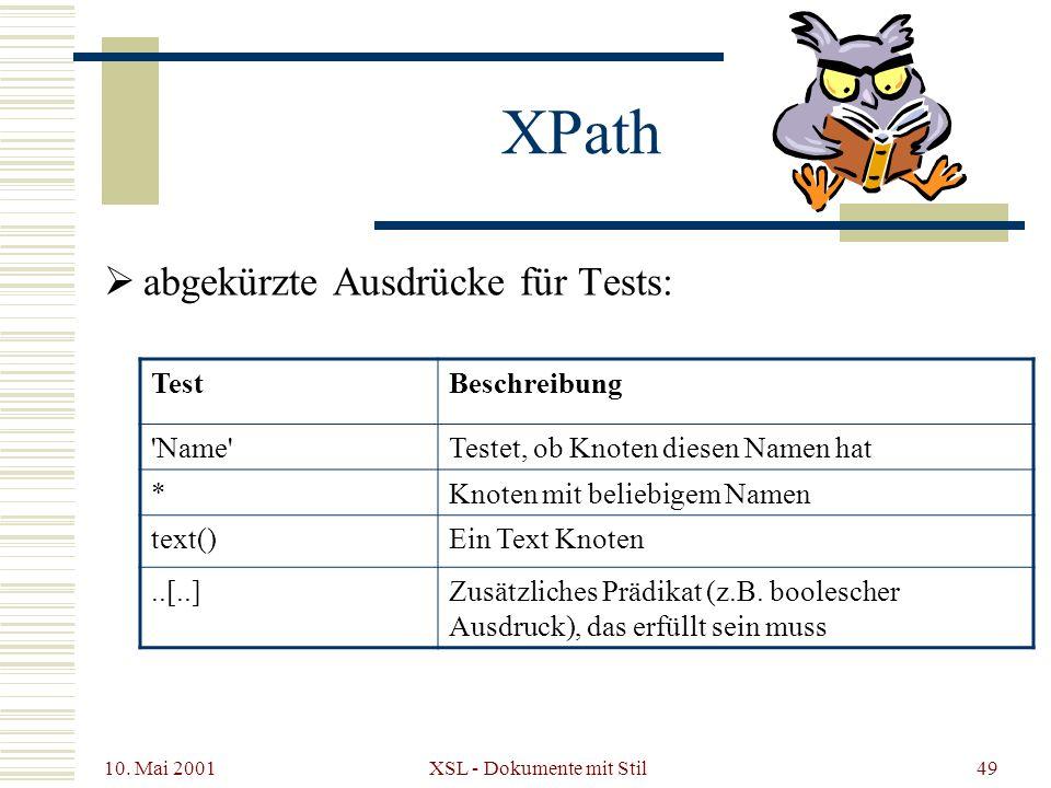 10. Mai 2001 XSL - Dokumente mit Stil49 abgekürzte Ausdrücke für Tests: XPath TestBeschreibung 'Name'Testet, ob Knoten diesen Namen hat *Knoten mit be
