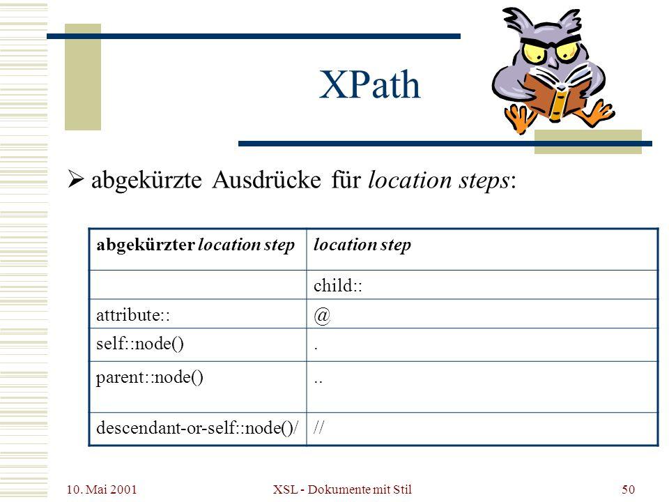 10. Mai 2001 XSL - Dokumente mit Stil50 abgekürzte Ausdrücke für location steps: XPath abgekürzter location steplocation step child:: attribute::@ sel