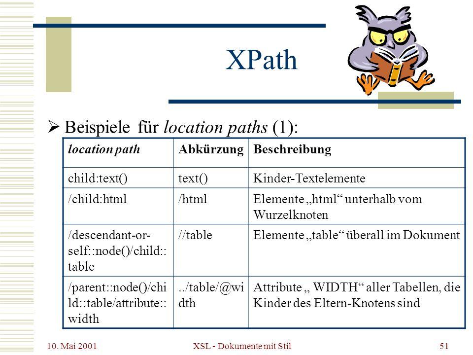 10. Mai 2001 XSL - Dokumente mit Stil51 Beispiele für location paths (1): XPath location pathAbkürzungBeschreibung child:text()text()Kinder-Textelemen