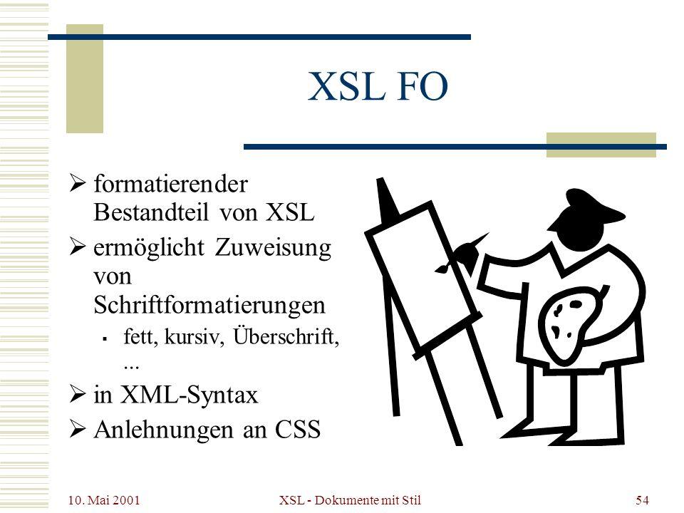 10. Mai 2001 XSL - Dokumente mit Stil54 XSL FO formatierender Bestandteil von XSL ermöglicht Zuweisung von Schriftformatierungen fett, kursiv, Übersch