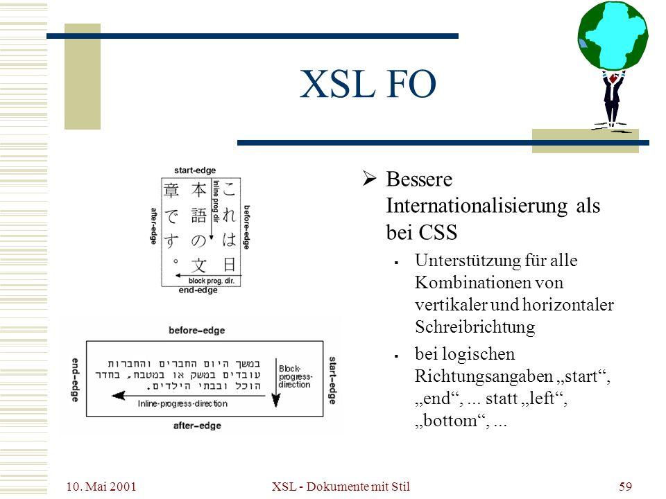 10. Mai 2001 XSL - Dokumente mit Stil59 XSL FO Bessere Internationalisierung als bei CSS Unterstützung für alle Kombinationen von vertikaler und horiz