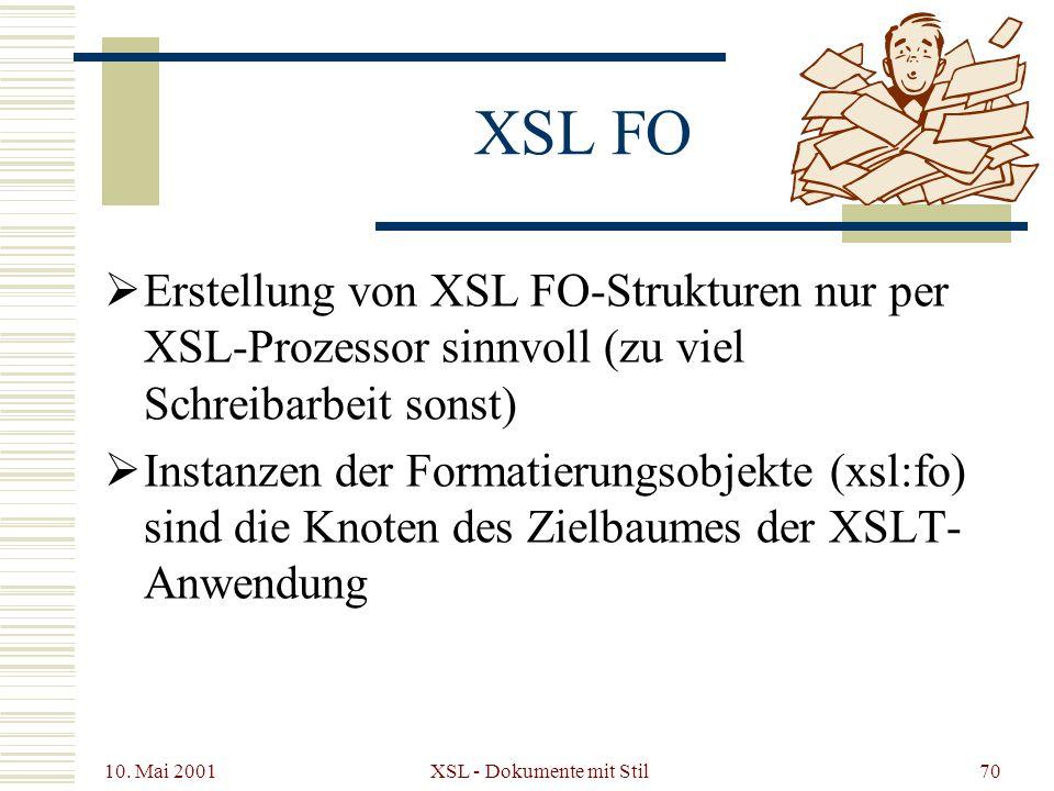 10. Mai 2001 XSL - Dokumente mit Stil70 XSL FO Erstellung von XSL FO-Strukturen nur per XSL-Prozessor sinnvoll (zu viel Schreibarbeit sonst) Instanzen