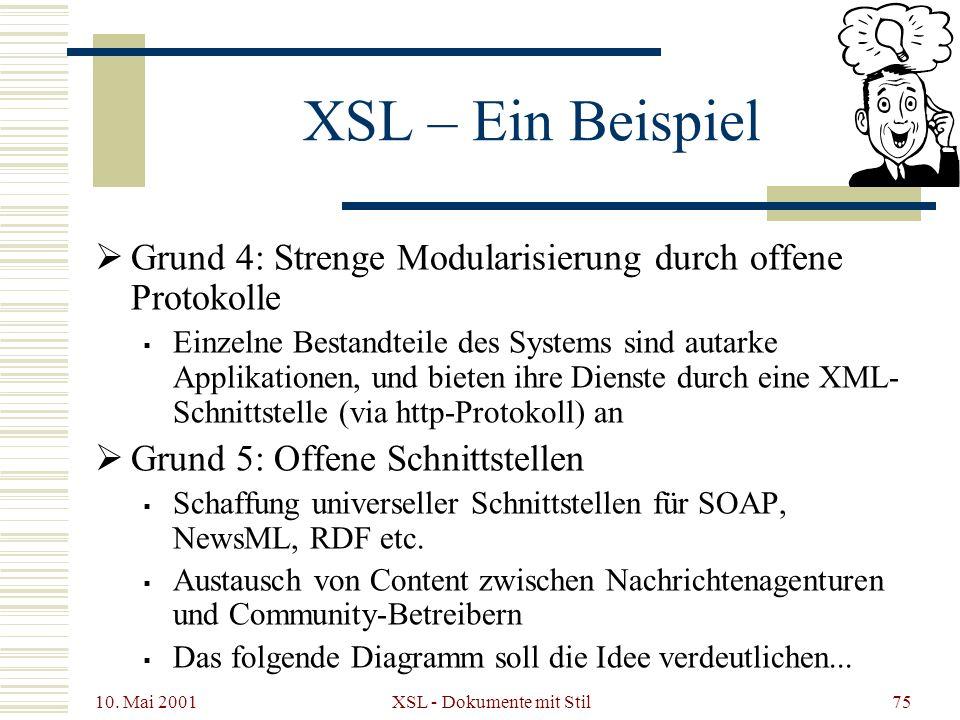 10. Mai 2001 XSL - Dokumente mit Stil75 XSL – Ein Beispiel Grund 4: Strenge Modularisierung durch offene Protokolle Einzelne Bestandteile des Systems
