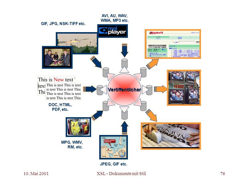 10. Mai 2001 XSL - Dokumente mit Stil76 MPG, WMV, RM, etc. AVI, AU, WAV, WMA, MP3 etc. DOC, HTML, PDF, etc. JPEG, GIF etc. GIF, JPG, NSK-TIFF etc. Ver