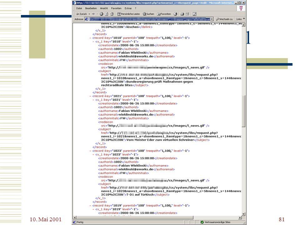 10. Mai 2001 XSL - Dokumente mit Stil81 XSL – Ein Beispiel