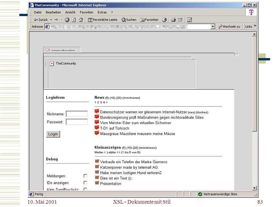 10. Mai 2001 XSL - Dokumente mit Stil83 XSL – Ein Beispiel