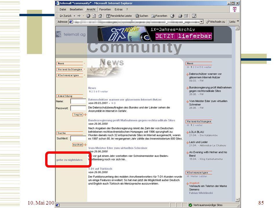 10. Mai 2001 XSL - Dokumente mit Stil85 XSL – Ein Beispiel
