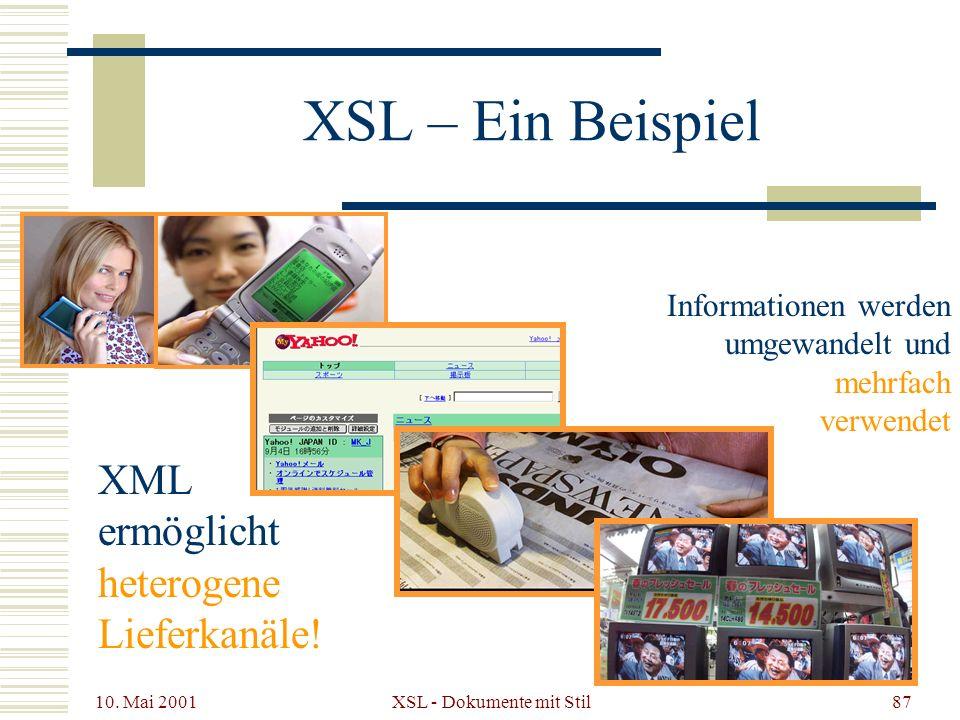 10. Mai 2001 XSL - Dokumente mit Stil87 XML ermöglicht heterogene Lieferkanäle! Informationen werden umgewandelt und mehrfach verwendet XSL – Ein Beis