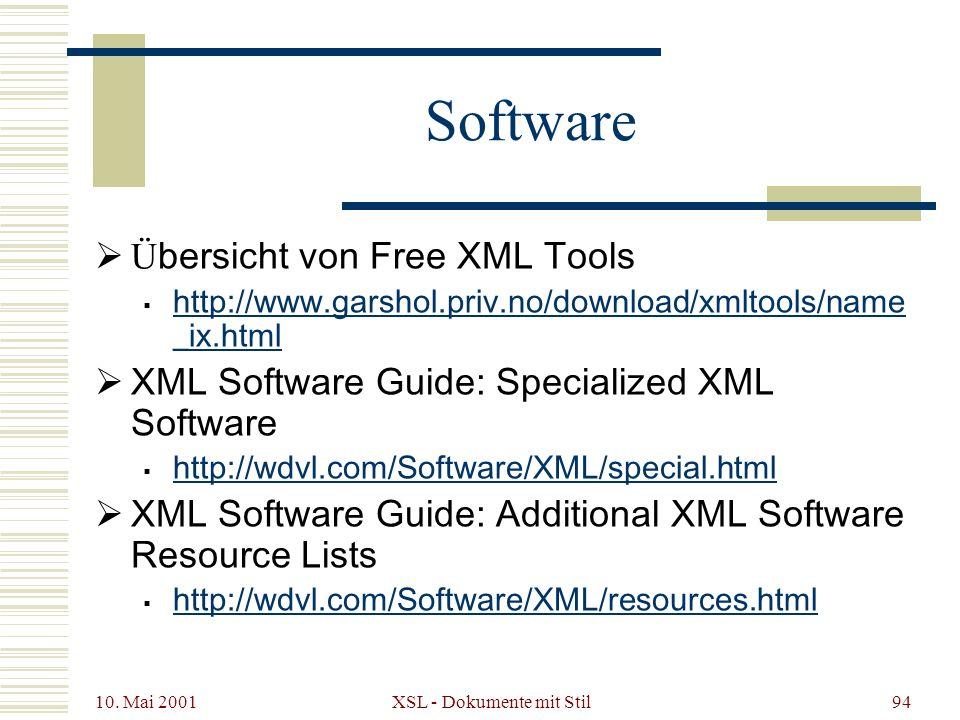 10. Mai 2001 XSL - Dokumente mit Stil94 Software Ü bersicht von Free XML Tools http://www.garshol.priv.no/download/xmltools/name _ix.html http://www.g