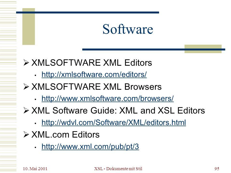 10. Mai 2001 XSL - Dokumente mit Stil95 Software XMLSOFTWARE XML Editors http://xmlsoftware.com/editors/ XMLSOFTWARE XML Browsers http://www.xmlsoftwa