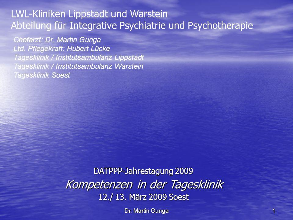 Dr. Martin Gunga1 LWL-Kliniken Lippstadt und Warstein Abteilung für Integrative Psychiatrie und Psychotherapie Chefarzt: Dr. Martin Gunga Ltd. Pflegek