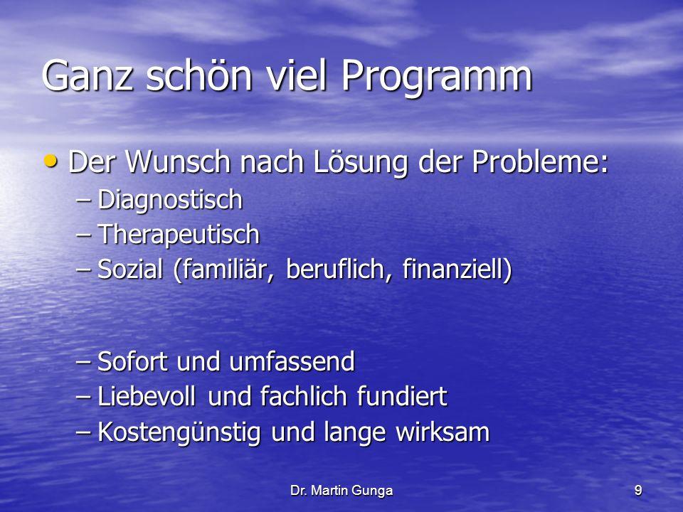 Dr. Martin Gunga9 Ganz schön viel Programm Der Wunsch nach Lösung der Probleme: Der Wunsch nach Lösung der Probleme: –Diagnostisch –Therapeutisch –Soz