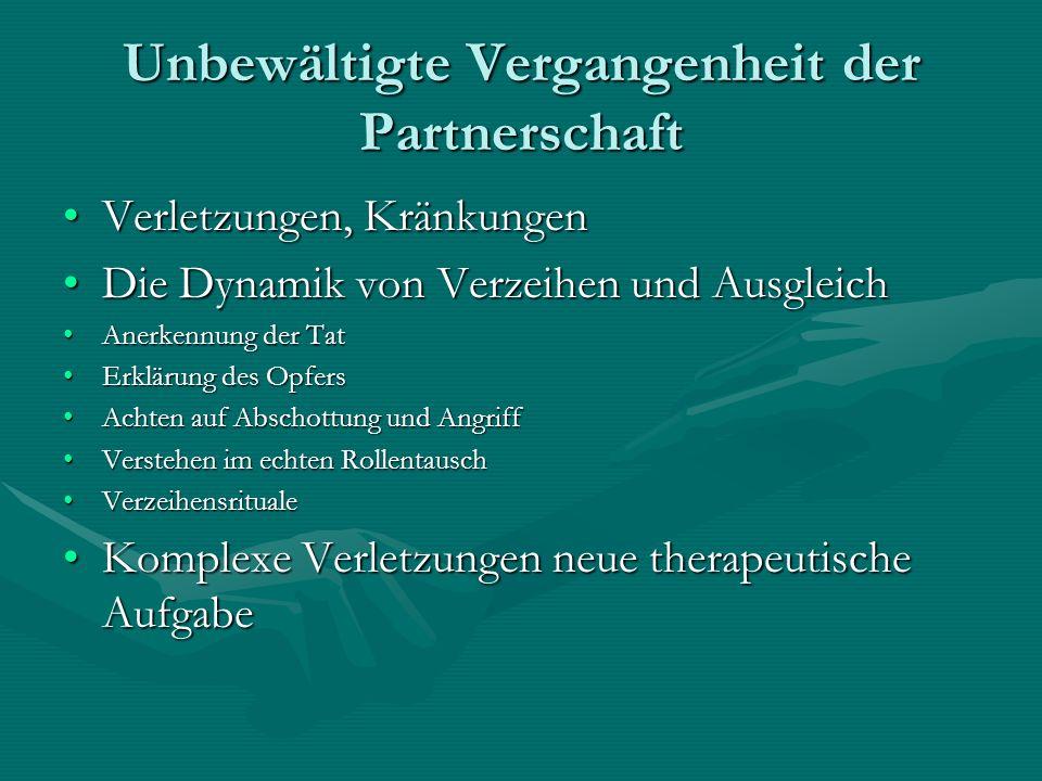 Unbewältigte Vergangenheit der Partnerschaft Verletzungen, KränkungenVerletzungen, Kränkungen Die Dynamik von Verzeihen und AusgleichDie Dynamik von V
