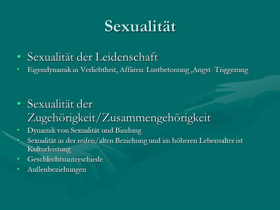Sexualität Sexualität der LeidenschaftSexualität der Leidenschaft Eigendynamik in Verliebtheit, Affären: Lustbetonung,Angst- TriggerungEigendynamik in
