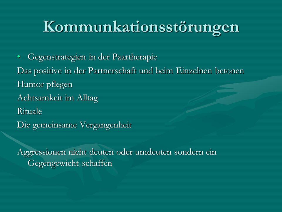 Kommunkationsstörungen Gegenstrategien in der PaartherapieGegenstrategien in der Paartherapie Das positive in der Partnerschaft und beim Einzelnen bet