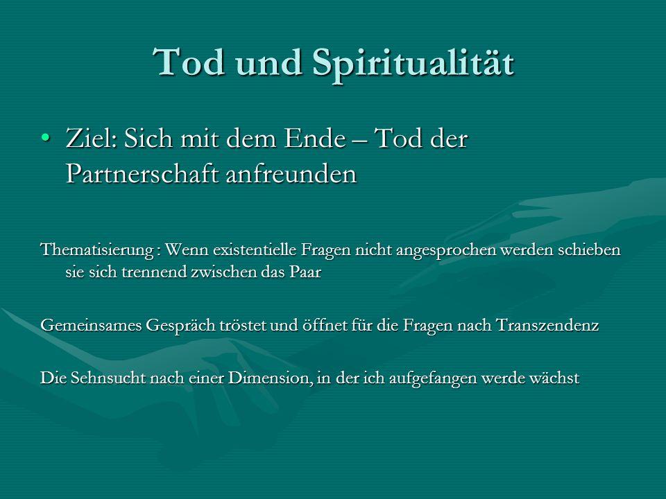 Tod und Spiritualität Ziel: Sich mit dem Ende – Tod der Partnerschaft anfreundenZiel: Sich mit dem Ende – Tod der Partnerschaft anfreunden Thematisier
