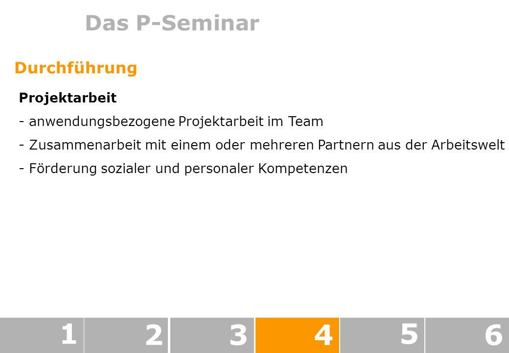 Das P-Seminar 1 234 5 6 Durchführung Projektarbeit - anwendungsbezogene Projektarbeit im Team - Zusammenarbeit mit einem oder mehreren Partnern aus der Arbeitswelt - Förderung sozialer und personaler Kompetenzen