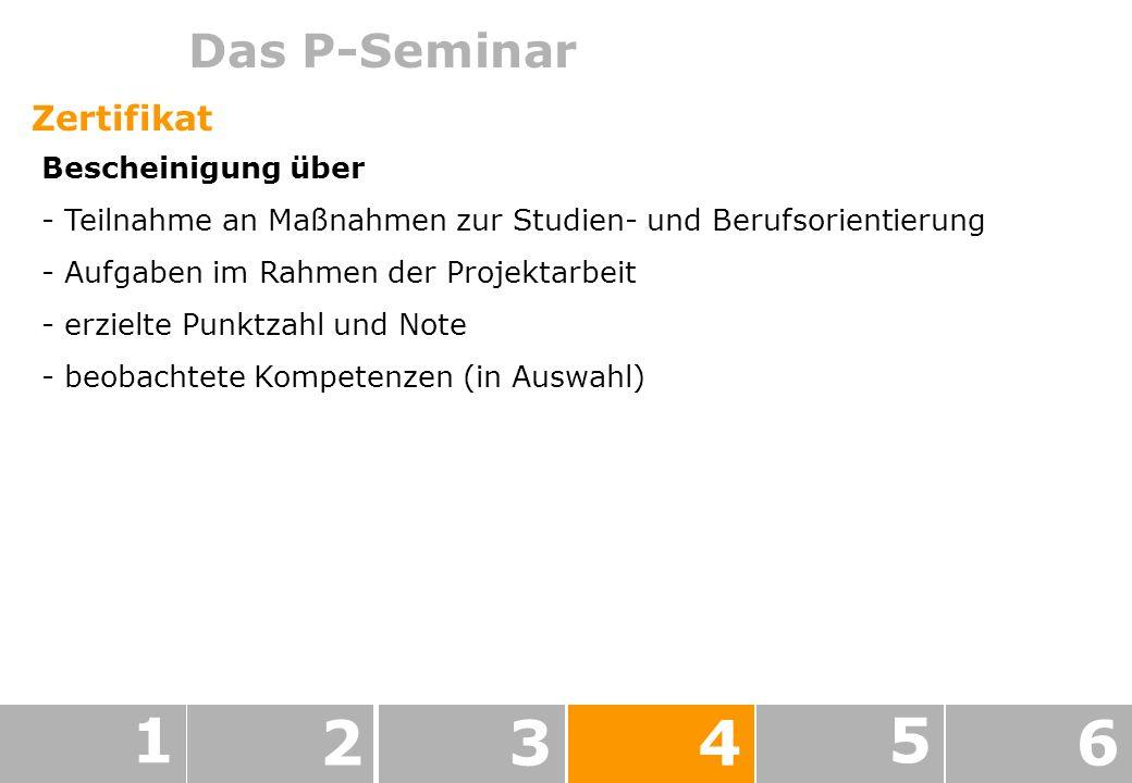 Das P-Seminar 1 234 5 6 Zertifikat Bescheinigung über - Teilnahme an Maßnahmen zur Studien- und Berufsorientierung - Aufgaben im Rahmen der Projektarbeit - erzielte Punktzahl und Note - beobachtete Kompetenzen (in Auswahl)