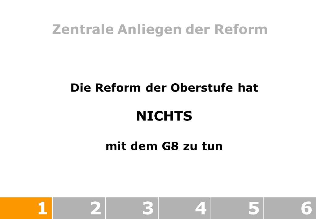 Zentrale Anliegen der Reform 123456 Die Reform der Oberstufe hat NICHTS mit dem G8 zu tun