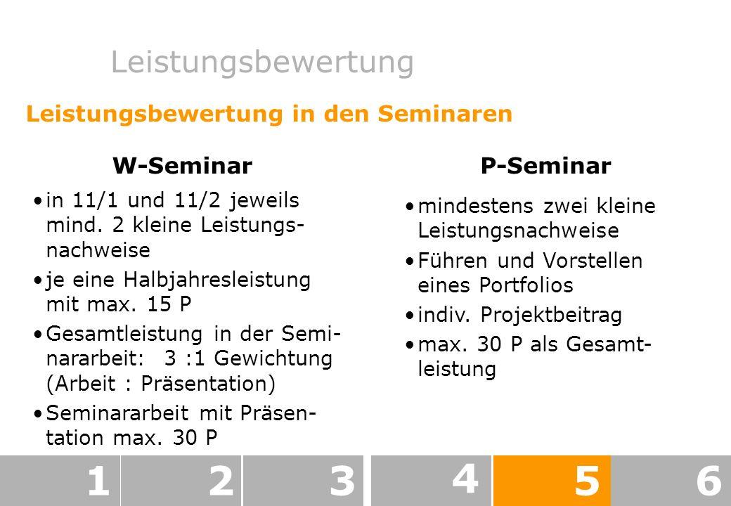 Leistungsbewertung 123 4 56 Leistungsbewertung in den Seminaren W-Seminar in 11/1 und 11/2 jeweils mind.