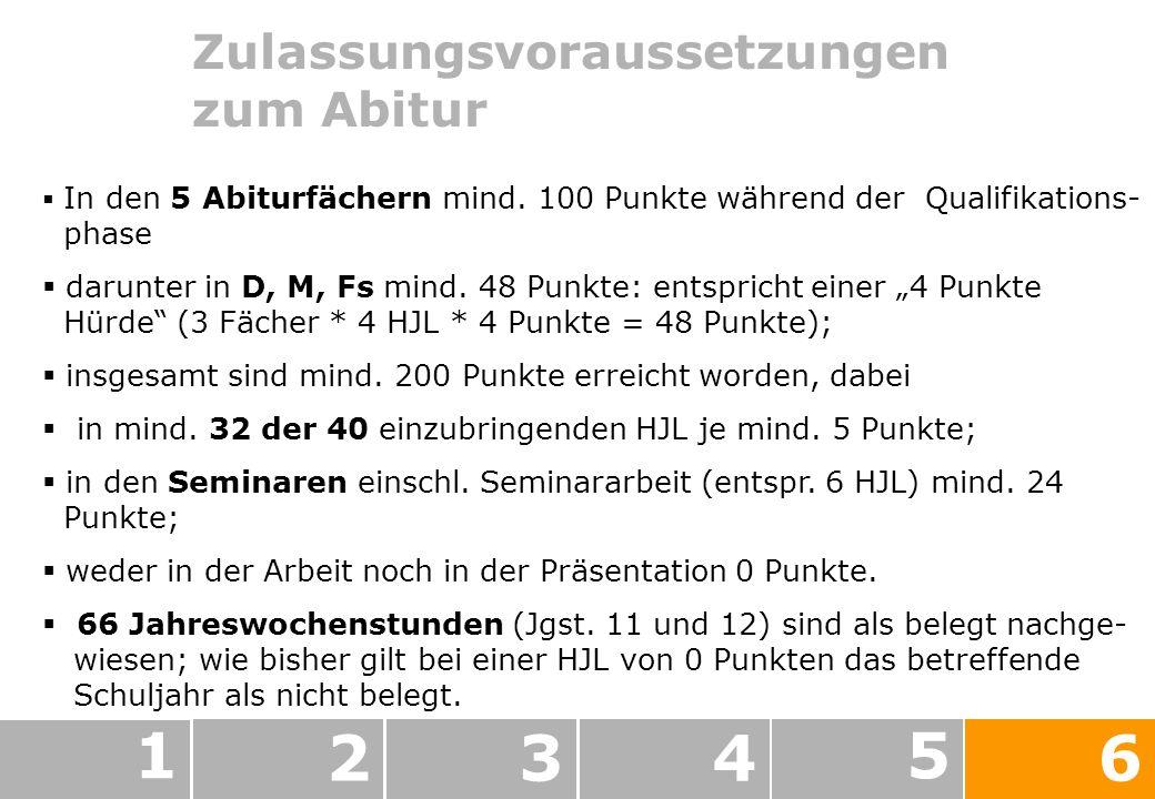 Zulassungsvoraussetzungen zum Abitur 1 234 5 6 In den 5 Abiturfächern mind.
