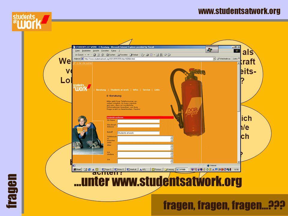 www.studentsatwork.org letzter Ausweg: Kein Recht auf Arbeitslosengeld .
