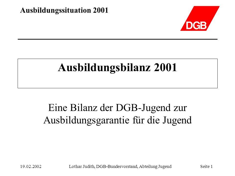 Ausbildungssituation 2001 19.02.2002Lothar Judith, DGB-Bundesvorstand, Abteilung JugendSeite 1 Ausbildungsbilanz 2001 Eine Bilanz der DGB-Jugend zur A