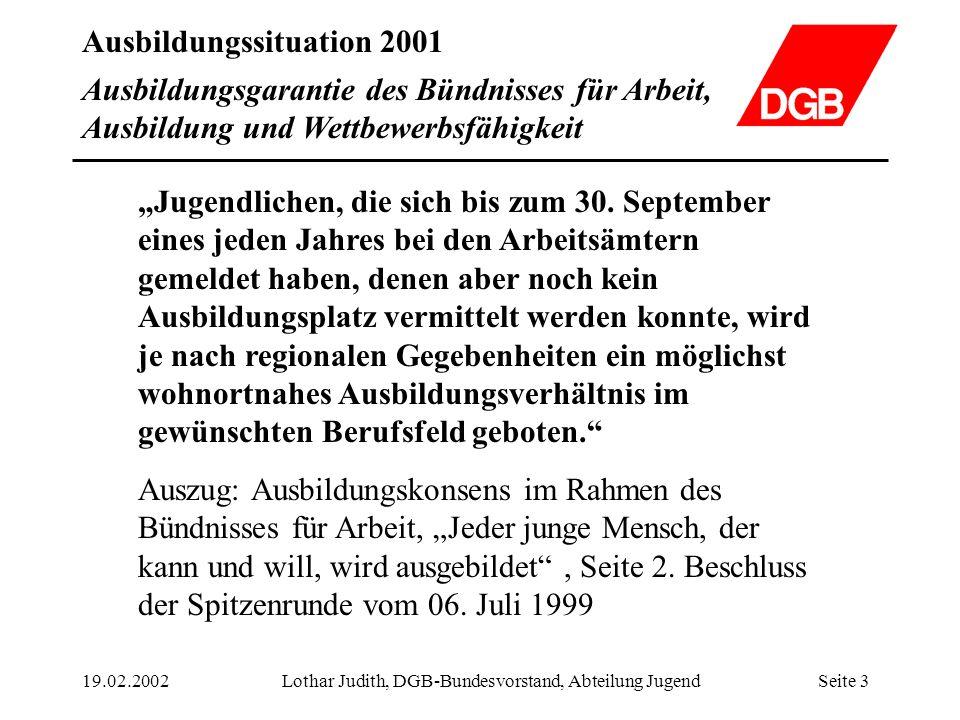 Ausbildungssituation 2001 19.02.2002Lothar Judith, DGB-Bundesvorstand, Abteilung JugendSeite 4 Entwicklung des Ausbildungsstellenangebots von 1999 bis 2001 1 Angebot und Nachfrage werden durch die Bundesregierung so definiert.