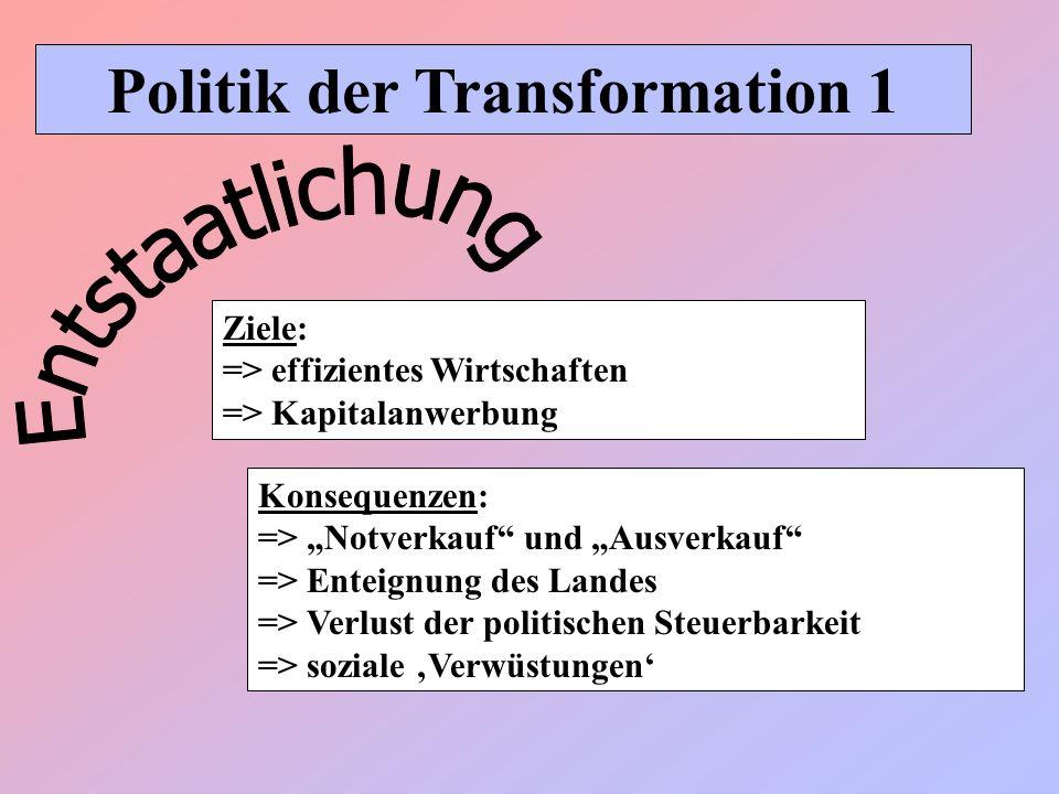 Politik der Transformation 1 Konsequenzen: => Notverkauf und Ausverkauf => Enteignung des Landes => Verlust der politischen Steuerbarkeit => soziale V
